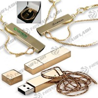 Gift box packing gold usb flash drive with necklace
