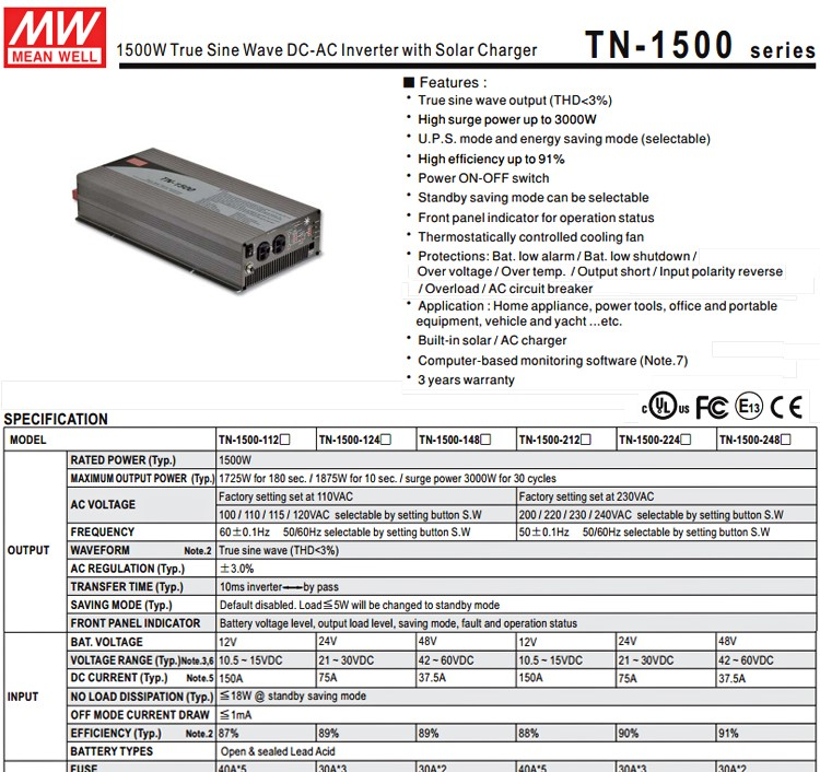 Meanwell TN-1500-224B UL CE CB TUV 230vac 1500w pure sine wave inverter with Solar Charger 1500w inverter