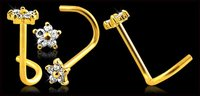 Yellow Gold Clear CZ Flower Nose Screws Ring