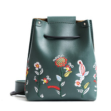 Embroidery Floral Women Pu Leather String Shoulder Pouch Bag for Mobile Phone Card Holding