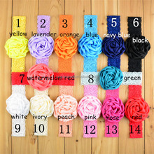 Newborn Satin Rose Flower with wide Lace Headbands Top Baby Girl Satin Hairbands Infant Headwear Children Hair accessories