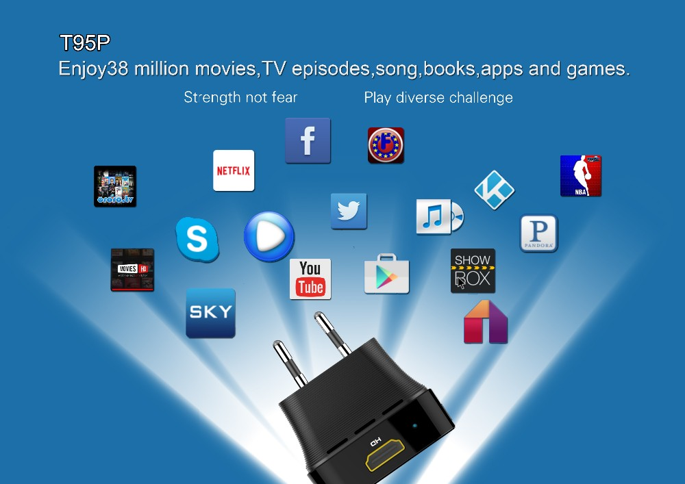 Wholesale prices android box ,T95P Amlogic S905X 2G/8G 4K 2K google play store app download android6.0 Tv box