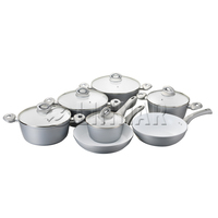12pcs grey italian prestige camping forged aluminum non-stick cookware set