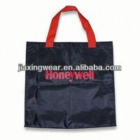 Hot sales foldable black nylon tote bag for shopping and promotiom,good quality fast delivery
