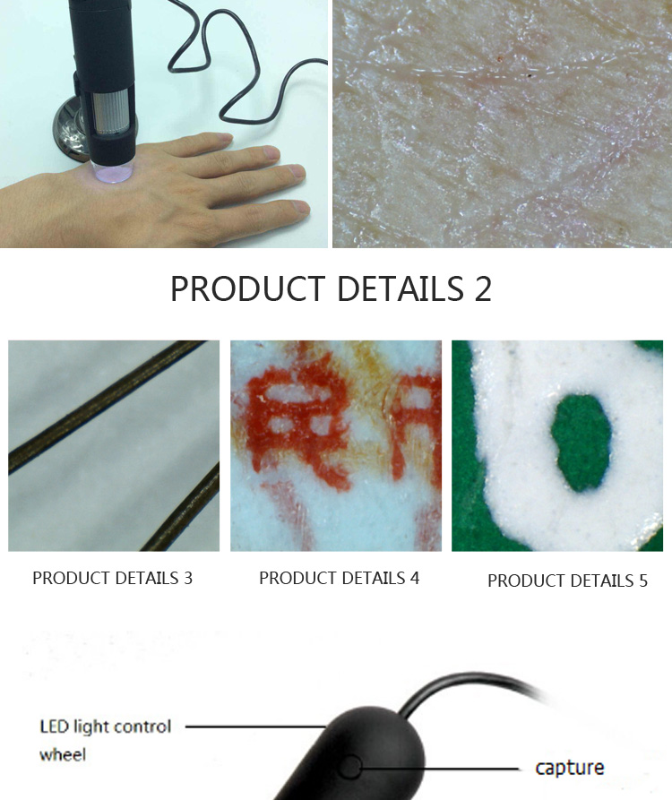 Type equipments analysis pathological usb digital video dermatoscope zoom 20X,400X