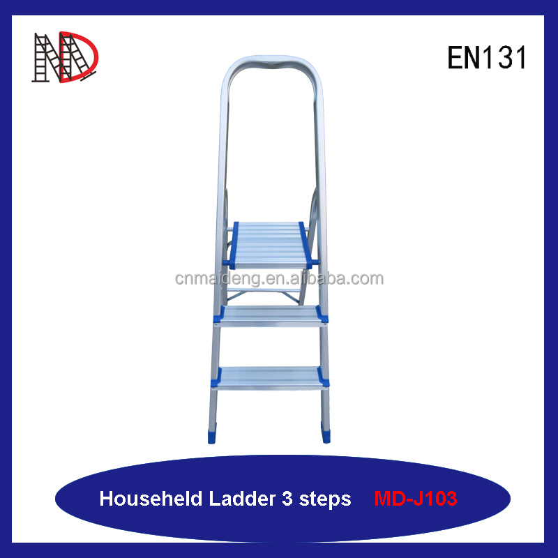 Aluminum household ladder with handrail 3 step ladder