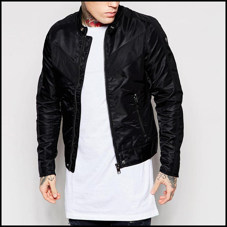 2017 Mens Fashion Black Color Autumn Clothes Winter Down Bomber Jacket