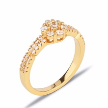 1 pcs moq wholesale on stock 18k gold plated jewelry cluster latest design ladies rings