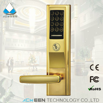 gold electric panel touch screen password rfid keypad keycode door lock push button combination lock