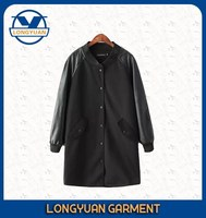 PU sleeve long overcoat frozen clothing with pu sleeve