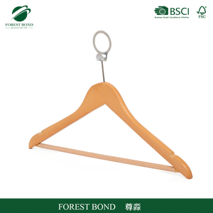 Wood anti theft clothes hanger with anti theft ring