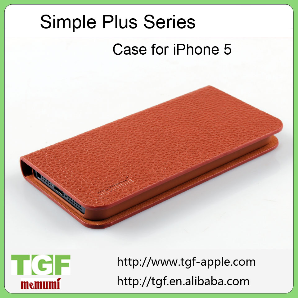 Flip Plastic Slim Leather Hard Stand Back Case Protector Protective Cover For Apple For iPhone 5 5S