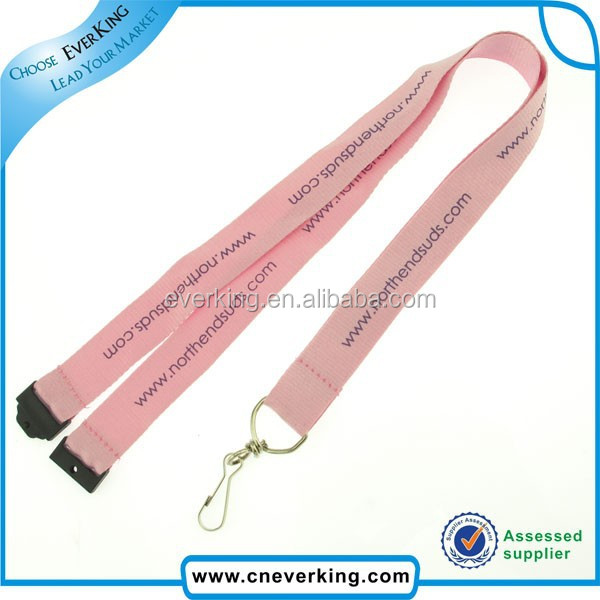 pink color lanyard with swivel hook,safety buckle