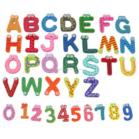 Colorful Cartoon Design Wooden Letters Numbers Refrigerator Fridge Magnets Teaching Alphabet Kids Toys