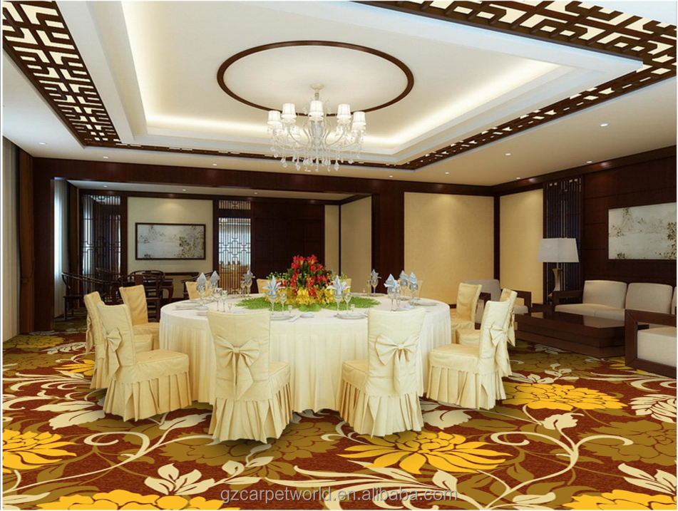 Wall to Wall Floral Printed Pattern Used to Hotel Banquet Hall Flooring Carpet
