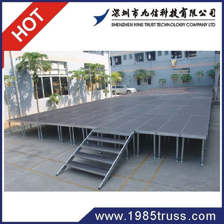 folding mobile stage with skirting