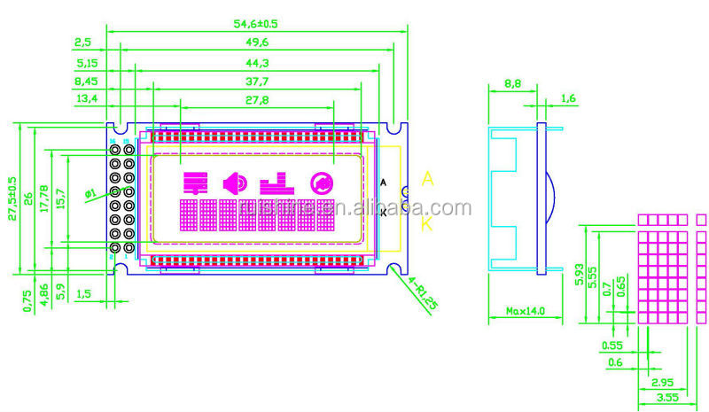 Printer and fax machine LCD dot matrix Display