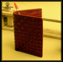 Vegetable Leather Womens Mens Wallet Woven Business ID Credit Card Case Anti RFID Scanning