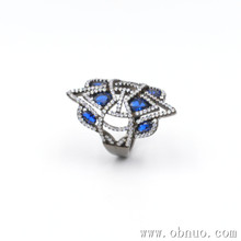 SC180 Guangzhou jewelry new arrival finger Retro ring latest design ladies sterling silver Blue pointed crystal gemstone rings