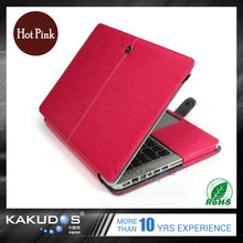 Light weight Stylish appearance hot pink / black / blue / gold leather case for macbook