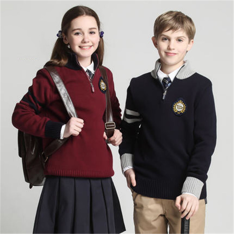 Warm Sweater Style School Uniform primary school uniform designs Wool Handmade Sweater Design For Girl And Boys