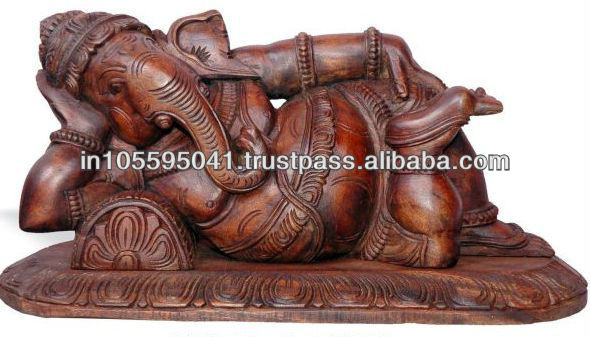 Reclining Ganesh Wooden Sculpture