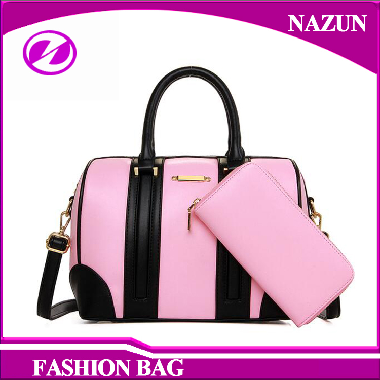 2016 fashion colour blocking boston style hand bag and purse for women