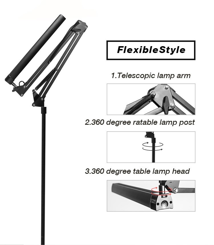 2.4G Wireless Remote Control and Touch Switch Tripod Standing Flexible Arm LED Floor Lamps