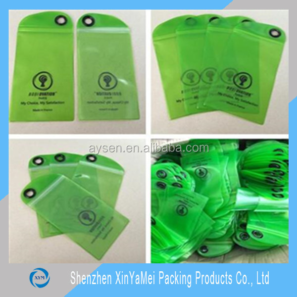 green color clear semi transparent PVC ziplock bag