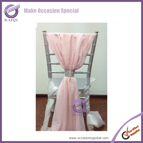 BS00412 white fancy chiavari chiffon hood for wedding cheap ruffled wedding chair cover