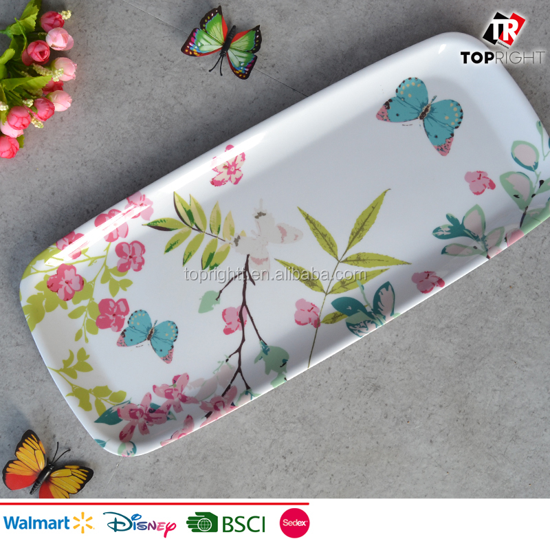 High quality melamine serving tray with flower designs