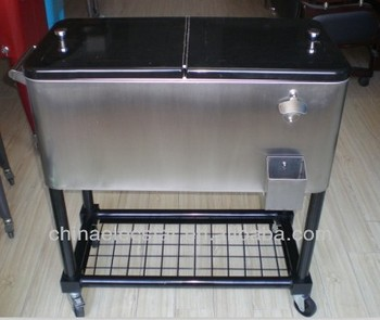 Stainless Steel Patio Ice Cooler/Beverage Cart , Suitable ,cooler Cart,rolling  Cart