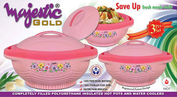 Majestic Plastic Insulated Hotpot Gold 3 Piece set / Thermal Food Warmer