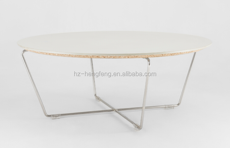 Top quality dining room coffee round table with steel metal legs