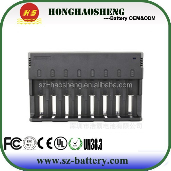 Newest lithium battery charger 8 slot charger hot selling 18650 battery charger