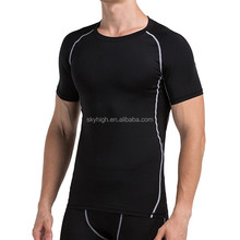 High quality nylon material men short sleeve compression shirt for jogging and training