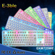 E-3LUE EM725 professional multimedia gaming keyboard with rainbow color