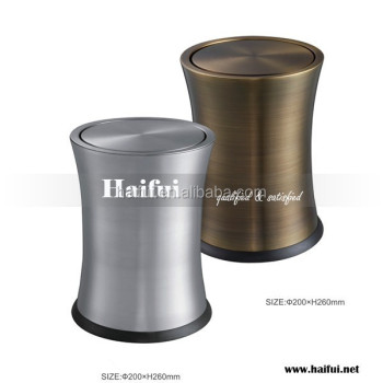 hotel room trash bin, stainless steel trash bin for hotel bedroom