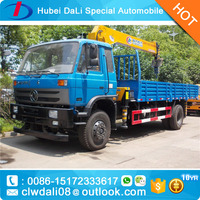 DongFeng 7 tons truck mounted hydraulic crane with 3 telescopic straight booms
