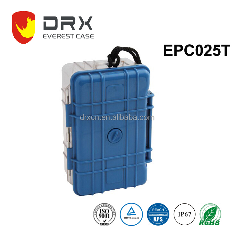 Beautiful plastic carrying equipment case with transparent bottom