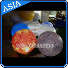 Factory Price Sun, Mars, Saturn Solar System Nine Planet Balloon / Giant Helium Levitation Inflatable Planet With LED Light