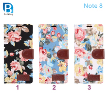 Note 8 case , Funky Floral Print Wallet PU Leather Mobile Phone Case for Samsung galaxy note 8