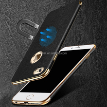 Magnetic Car Stand Holder leather texture and electroplated tpu phone case for iphone