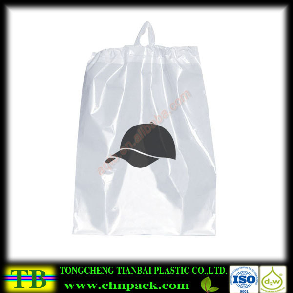 white Pe Rope Handle Plastic Shopping Bag with black printing on one side
