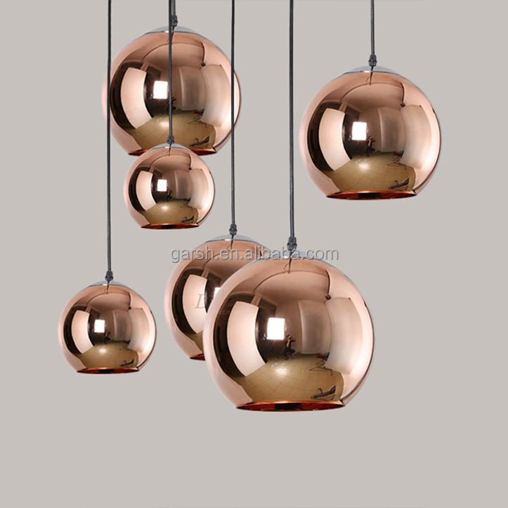 Modern Copper Glass Pendant Lighting Chrome Gold Color Lights