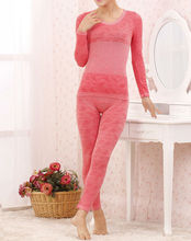 Ladies fashion close-fitting thin fiber stretch-cotton body-building dacron knitted sexy thermal underwear