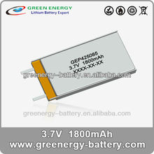 rechargeable polymer battery GEP425085 batteries lipo 3.7v 1800mah battery charger