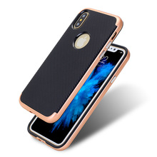 Shockproof protective cell phone case , Carbon fibre plating button bumble bee hard PC TPU phone case cover for iPhone X case