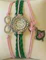 Alpha Kappaa Alpha Sorority Charm Bracelet pink and green AKA custom watch