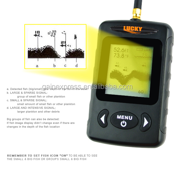 Digital 45M Fish Finder/Fish finder with Wireless Sonar Sensor Sea Bed Live-Update Bottom Contour (Black) /LUCKY